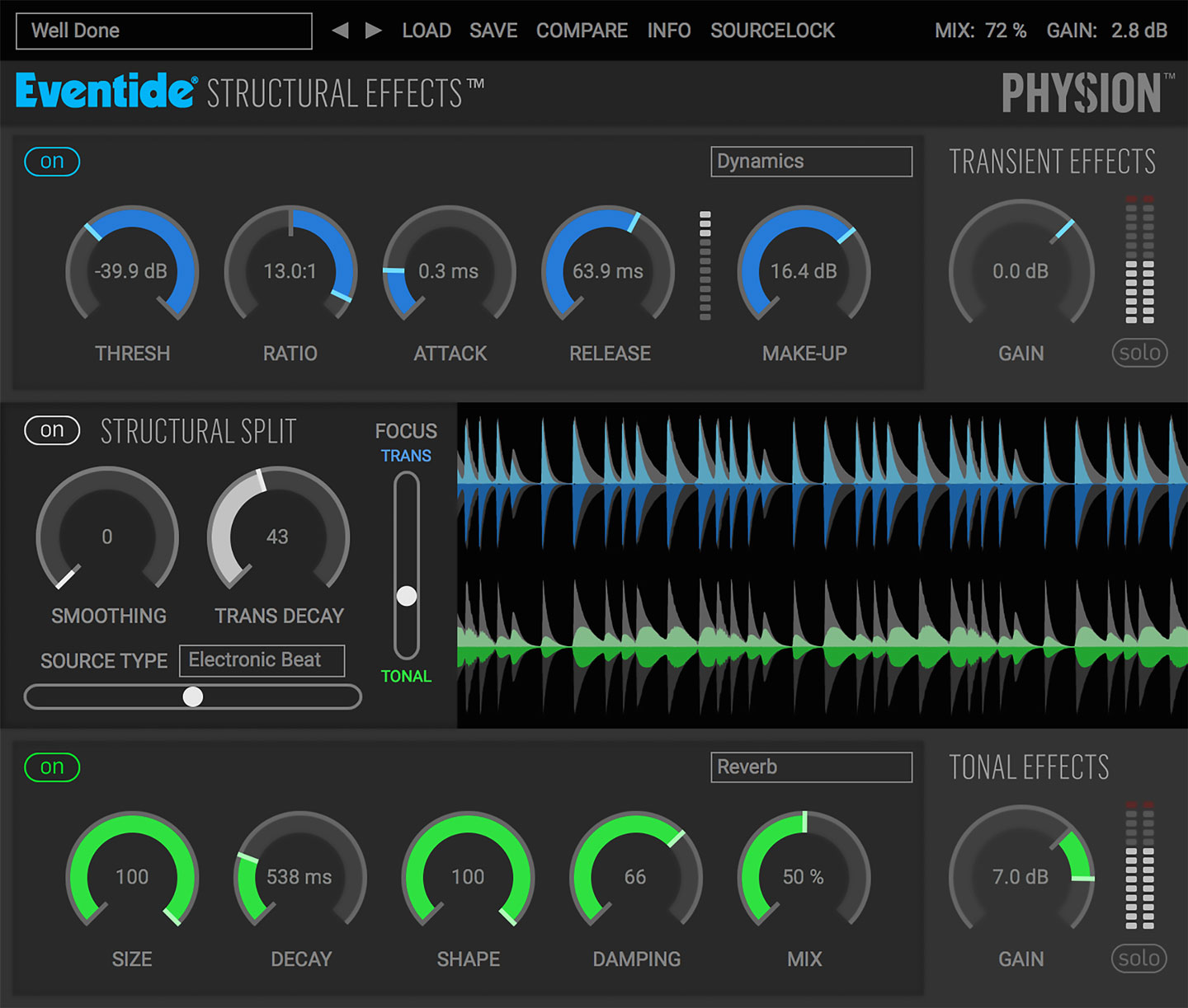 Eventide Physion Audio transient tonal splitter multi effects