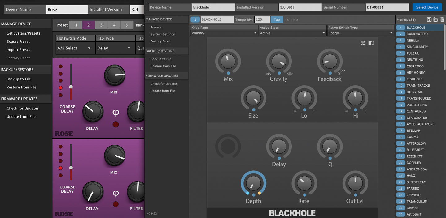 Eventide Device Manager for Rose and dot9 Pedals